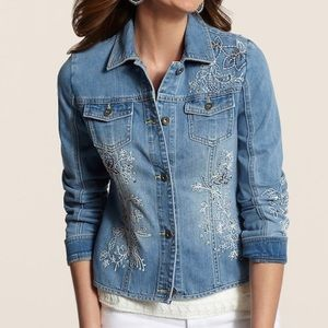 CHICO'S EMBROIDERED JEAN JACKET